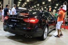 New italian super sedan at auto show Royalty Free Stock Photos