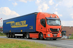 New Iveco Stralis Hi-Way Semi Truck on the Road Royalty Free Stock Photo
