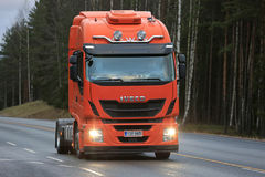New Iveco Stralis Hi-Way Semi Truck on The Road Royalty Free Stock Images