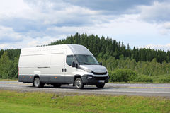 New Iveco Daily Van on the Road in Summer. FORSSA, FINLAND - JULY 25, 2015: New Iveco Daily Van on the road in South of Finland. The New Iveco Daily is the Van royalty free stock photo