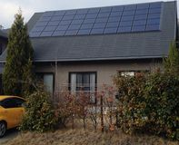 New Japanese house with solar Stock Images