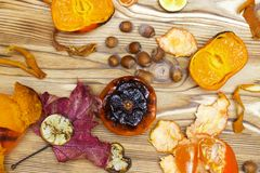 New Japanese superfood, grilled tangerines with the peel. An overhead photo of the antioxidant grilled mandarine fruits, nuts, lim Royalty Free Stock Image