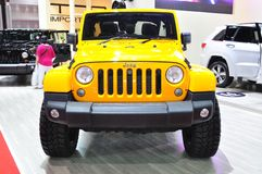 New Jeep Wrangler Sahara on display Stock Photos