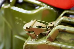 New jerrycans for gasoline in store Stock Images