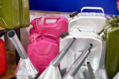 New jerrycans for gasoline in store Royalty Free Stock Photography