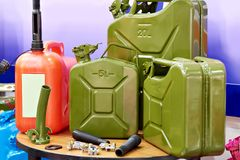 New jerrycans for gasoline in store. New jerrycans for gasoline in the store royalty free stock photography