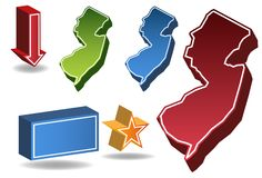 New Jersey 3D. Set of 3D images of the State of New Jersey with icons Royalty Free Stock Photography