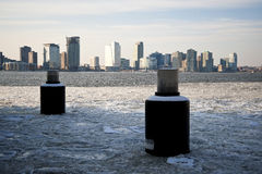 New Jersey beyond frozen Hudson River. Ice block on the Hudson River between NJ and NYC Royalty Free Stock Photos