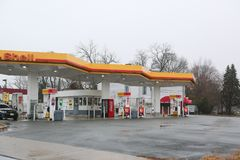 Shell gas station. New Jersey, December 2, 2018:Shell gas station royalty free stock photography