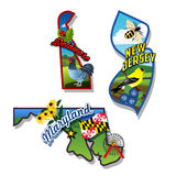 New Jersey, Delaware, Maryland retro state facts Illustrations. East coast states vector retro stickers Royalty Free Stock Images