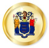 New Jersey Flag Button. New Jersey state flag button with a gold metal circular border over a white background Stock Image
