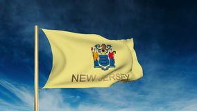 New jersey flag slider style with title. Waving in stock video