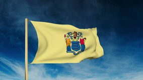 New jersey flag slider style. Waving in the win stock footage