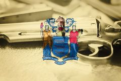 New Jersey flag U.S. state Gun Control USA. United States. Gun Laws Stock Image