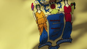 New jersey flag waving in the wind. Looping sun stock footage