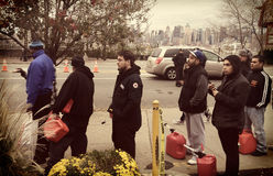 New Jersey Gas Line. Weehawken NJ gas line post- hurricane Sandy- New York City skyline in background 11/3/12 Royalty Free Stock Photos