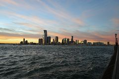 New Jersey from Manhattan New York side with River.  Royalty Free Stock Photography
