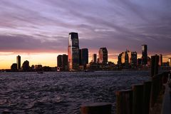 New Jersey from Manhattan New York side with River.  Stock Images