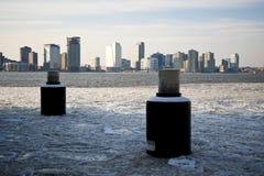 New Jersey más allá del río de Hudson congelado Fotos de archivo libres de regalías