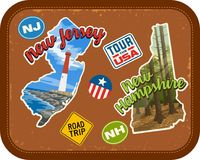 New Jersey, New Hampshire travel stickers with scenic attractions. And retro text on vintage suitcase background Royalty Free Stock Photography