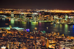 New Jersey and New York West End in the night Royalty Free Stock Images