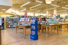 Barnes and Noble store interior. New Jersey, NJ, October 6 2018: Barnes and Noble store interior. Barnes & Noble Booksellers is the largest retail bookseller in royalty free stock photos