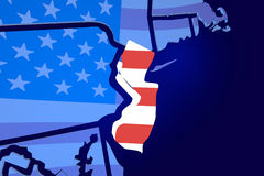 New Jersey NJ USA Flag United States America Map Stock Photos