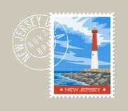 New Jersey postage stamp design. New Jersey  postage stamp design. Vector illustration of historic lighthouse on the Atlantic coast. Grunge postmark on separate Stock Image