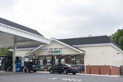 7-Eleven store and Esso gas station in New Jersey. royalty free stock image