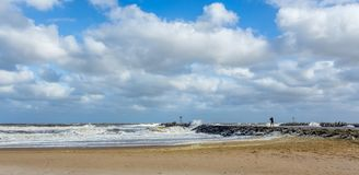 Beach New Jersey Shore at Manasquan Inlet stock photo