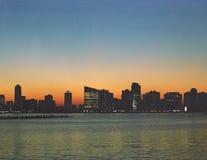 New Jersey Skyline USA. New Jersey sunset skyline from Christopher Street, Manhattan stock photo