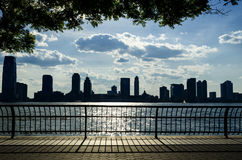New Jersey Skyline across the Hudson River. The New Jersey Skyline as seen from across the Hudson from the promenade along Battery Park City in Lower Manhattan Stock Images