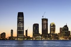 New Jersey skyline at dusk, USA. View of New Jersey skyline at dusk, USA stock images