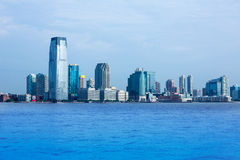 New Jersey skyline from Hudson River NY USA Stock Photos
