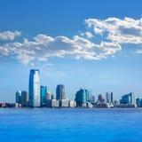 New Jersey skyline from Hudson River USA Stock Photo