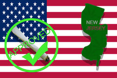 New Jersey State on cannabis background. Drug policy. Legalization of marijuana on USA flag, Royalty Free Stock Images