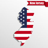 New Jersey State map with US flag inside and ribbon Royalty Free Stock Images