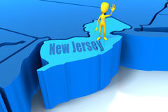 New Jersey state outline with yellow stick figure Royalty Free Stock Photo