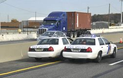 Two New Jersey state police cruisers royalty free stock photo