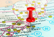 New Jersey state USA map. Close up of New Jersey state USA map with red pin - Travel concept royalty free stock photo