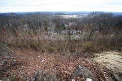 New Jersey  NJ suburbs, distant NYC New York City, skyline. Stock Photo