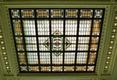 New Jersey Transit. Beautiful stained glass ceiling at the New Jersey Transit Railway Terminal Stock Photography