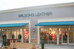 Wilsons Leather retail store front in New Jersey. New Jersey, USA, January 1, 2019:Wilsons Leather retail store front in New Jersey - Image royalty free stock photo