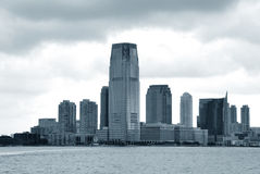 New Jersey. Views of the New Jersey side of the river Hudson. Monochrome Royalty Free Stock Photography