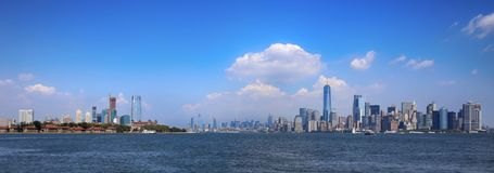 New Jersey and New York City. Aerial view on New Jersey and New York City Manhattan from Liberty island stock images
