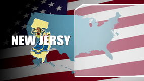 New Jersy Countered Flag and Information Panel stock footage