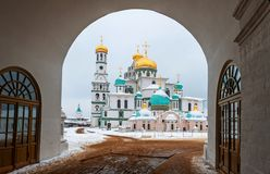 The new Jerusalem monastery Istra, Russia view through the Central arch entrance to the monastery in winter Royalty Free Stock Photos