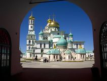 New Jerusalem resurrection Cathedral Istra gate Church of the Golden dome of the bell tower, a refectory Christianity. The Holy place is the new Jerusalem royalty free stock photo