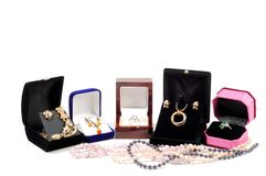 New jewelry in open boxes Royalty Free Stock Photography