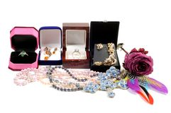 New jewelry in open boxes Stock Image